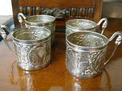 4 Vintage Silver Plated Tea Cup Holders Made in Israel coffee glass holders