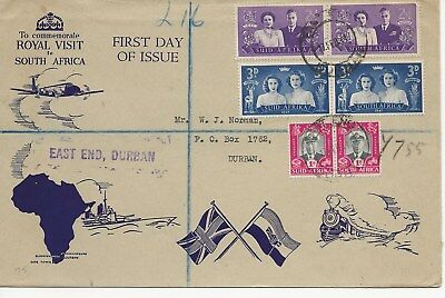 South  Africa FDC - Royal Visit to South Africa - Blocks of 2 - 1947 (4088) (Z)