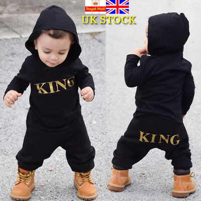Baby Boy Long Sleeve Romper Jumpsuit Bodysuit Toddler KING Print Outfits Clothes