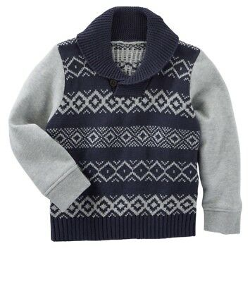Oshkosh Fair Isle Navy Blue Gray Hooded Sweater Pull Over NWT ~ 5T