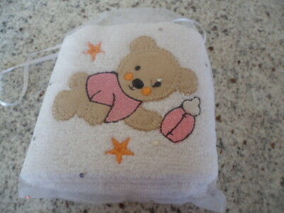 baby girls christening gift guest towel with teddy