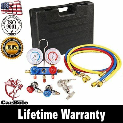 HVAC AC Refrigeration Kit A/C Manifold Gauge Set Air R12 R22 R134a + 5FT Hose MR