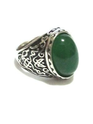 Vintage Sterling Silver 925 Natural Green Jade Genuine Ring Jewelry Men Size 8