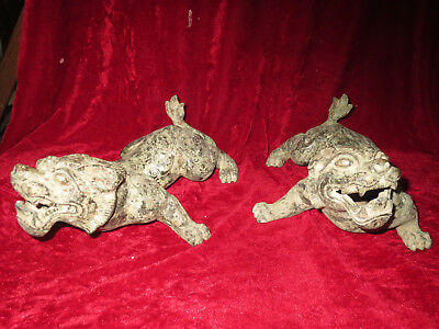 A Pair of Excellent China Ancient Bronze HandCarved Mythical Animals Figure