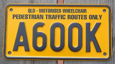 License Plate Number Plate Queensland Motorized Wheelchair MINT A600K