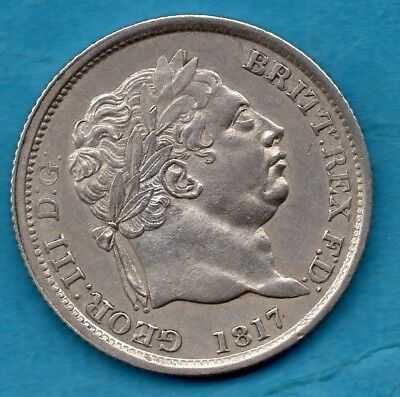 1817 King George Iii Silver Shilling Coin In Lovely Condition.