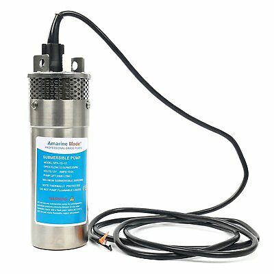 12V 10A Stainless Shell Submersible 3.2GPM Deep Well Water DC Pump Solar Battery