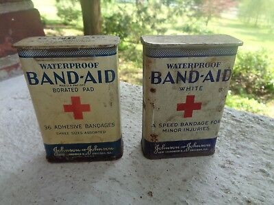 Vintage Lot Of 2 Band Aid Red Cross Tin Cans Johnson & Johnson