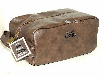 Quality Large Wash Bag Mens Toiletries Toiletry Travel  Brown Leather Like