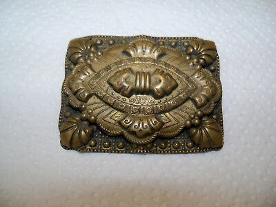 Vintage Antique BROOCH LARGE ORNATE BRASS BRONZE TONE METAL ART DECO JEWELRY