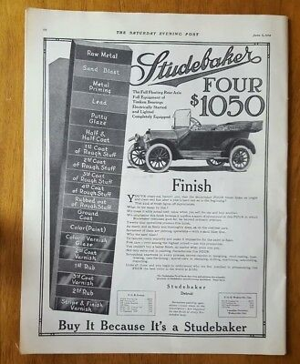 LARGE 1914 STUDEBAKER Four MOTOR CAR AUTOMOBILE AD Detroit Full page Wolf Oil