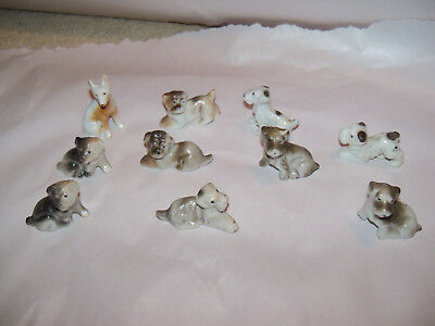 10 Vintage Miniature Dog Statues Figures made in Japan