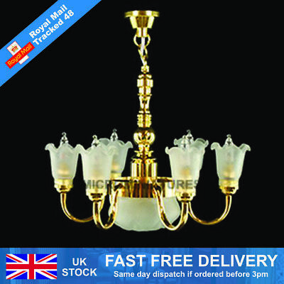 Dolls House Six Up-Arm Frosted Tulip Chandelier 1/12 Scale (01514)