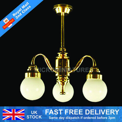 Dolls House 5 Down-Arm Tulip Shade Chandelier 1//12th Scale 01512