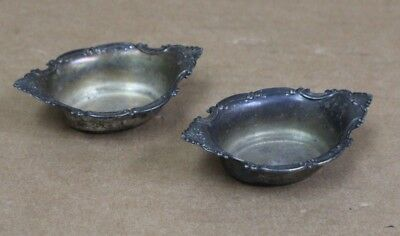 Pair of Sterling Silver Small Sized Candy Dishes - Patina From Age - Free Ship!