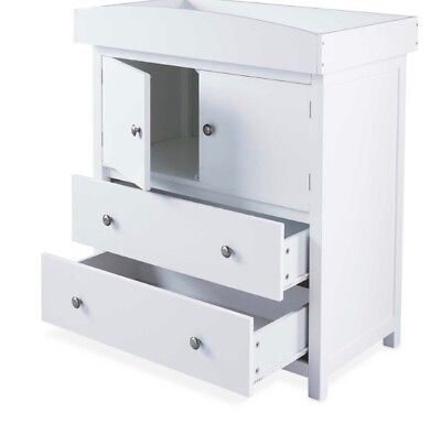 New White Chest of Drawers with Baby Changing Unit on Top - Nursery Furniture
