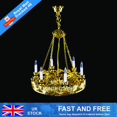 Dolls House Six Candle Chandelier 1/12 Scale (00702)