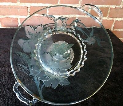 """Vintage Silver Overlay Glass Cake Plate with Handles Rockwell Peony 10½"""" ..."""