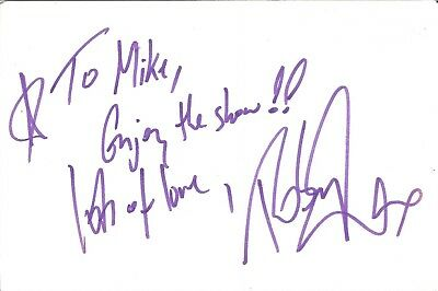Robin Rayner actor signed white card dedicated in person autograph Z2485