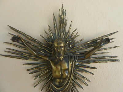 Antique solid cast Brass Large Crucifix French