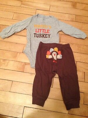 Baby Carter's 2 Pc Thanksgiving Turkey Outfit Size 9 M