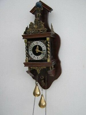 Vintage Chiming Wall Clock with Heavy Weights & Atlas Holding the World