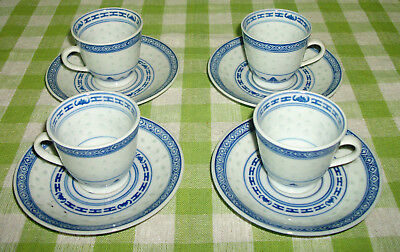 Vintage Chinese Porcelain Blue White Demitasse Cups & Saucers