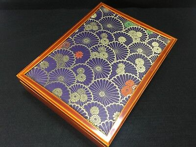 Japanese Vintage Traditional Makie Letter Case Golden Flower Embroidery Rare