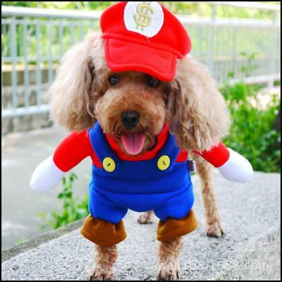 Super Mario Plumber Red Dog Puppy Costume Clothes