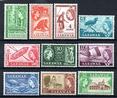 Sarawak (3404) 1955 set to 25 cents Very lightly mounted Mint Sg188-97