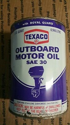 Vintage 1 QT Texaco Outboard Motor Oil SAE 30 Boating Can motor