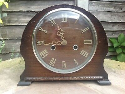 A SMITHS ENFIELD Single Strike Mahogany Mantle Clock with Pendulum