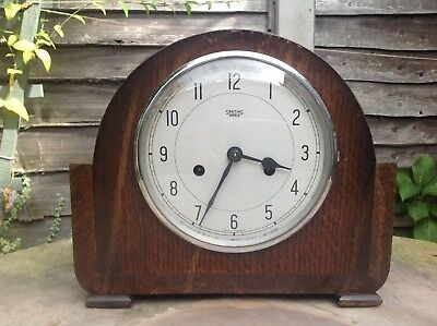 SMITHS ENFIELD Made in England Single Strike Mahogany Mantle Clock with Pendulum