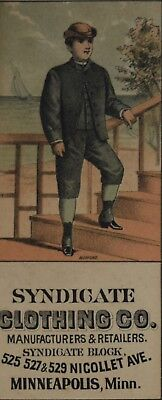 Syndicate Clothing Co. Minneapolis Staircase Suits Victorian Trade Card GC-21