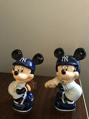 Yankees Mickey And Minnie Salt & Pepper Shakers- Collectibles- Bradford Exchange