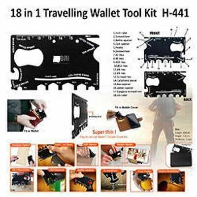 Official Wallet Ninja 18-In-1Tool Steel Pocket Screwdriver Bottle Opener Gadget