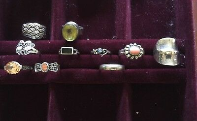 Sterling Silver Ring Lot of 10 Citrine ? Stone Celtic Black Onyx Wide Band