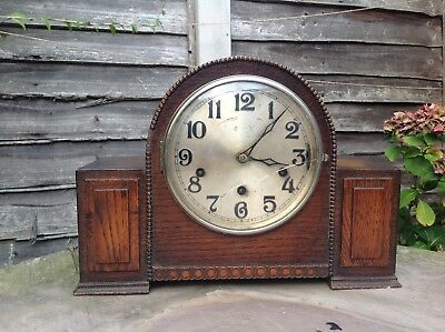 A Vintage early German HALLER Dark Oak/Mahogany Westminster Chime Mantle Clock