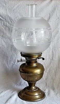 Antique Vintage Brass Oil Lamp With Glass Chimney, Etched Glass Shade.