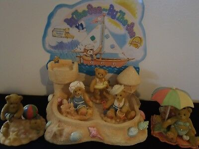 Cherished Teddies 5 bears and Sand Castle With Back Board 1996