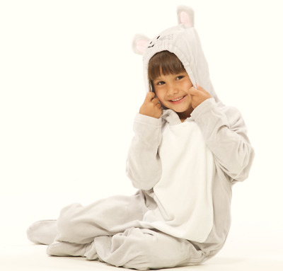 Kid's Gray Mouse Footed Pajamas for Girls and Boys Halloween Costume