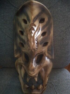 Hand Carved Wood Mask Tribal Art Demon Face Mask With Fangs,lacquered Wood