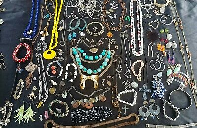 Large Lot Of Vintage Costume Fashion Antique Jewerly Necklace Rings Bracelets.
