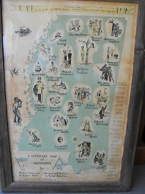 ORIGINAL 1951 Mississippi Literary Map to Honor William Faulkner~BLACK HISTORY