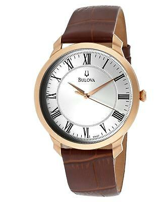 Bulova 97A107 Men's Classic Silver Dial Brown Leather Strap Rose Gold Watch