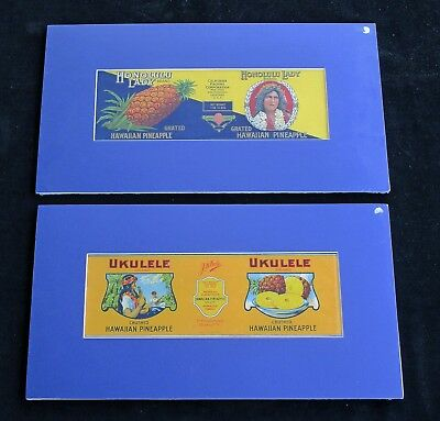 TWO FABULOUS ORIGINAL VINTAGE C.1920's LITHOGRAPH HAWAIIAN PINEAPPLE CAN LABELS.
