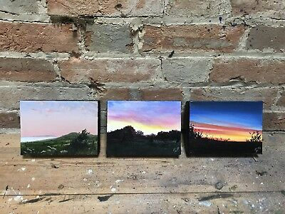 """'Purbeck Sunsets', 3 X Oil on Canvas, Each 7"""" X 5"""", 18/9/18,Rob Parkinson."""