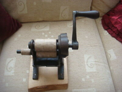rare antique holroyds patent mangle hand mahinery mounted on a new bit of wood