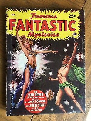 Famous Fantastic Mysteries - US vintage SF Pulp - Feb 1947 Virgil Finlay cover !
