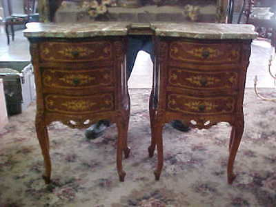 Fine Pair Antique French Style Marble Top Inlaid Comodes / Nite Stands